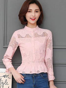 Stand Collar Lace Hollow Flare Sleeve Blouse