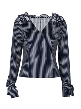 V-Neck Stripe Pleated Women's Blouse