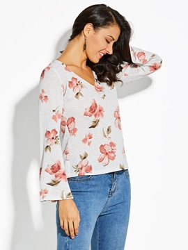 Flare Sleeve Floral Slim Women's T-Shirt