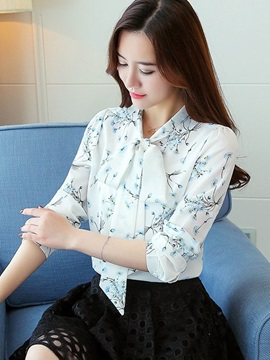 Bowknot Long Sleeve Print Floral Blouse