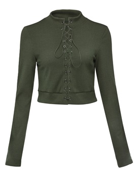 Slim Stand Collar Lace-Up Women's Knitwear