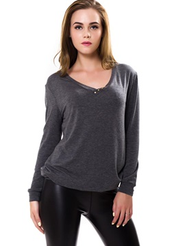 Long Sleeve Loose V-Neck T-shirt