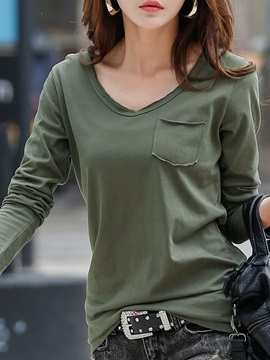 Long Sleeve Plain Regular V-Neck Blouse