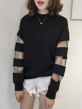 Long Sleeve Loose Mesh Round Neck Blouse
