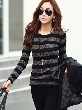 Long Sleeve Pullover Round Neck Women's Knitwear