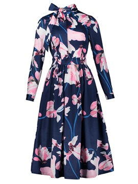 Bowknot Color Block Floral Print Women's Day Dress