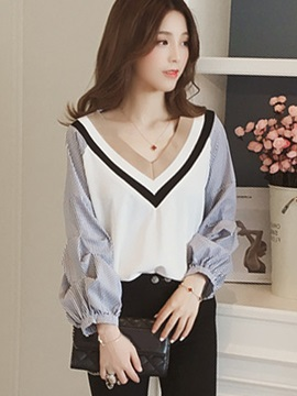Long Sleeve Loose Patchwork Stripe Women's Shirt