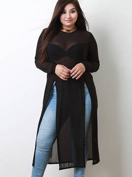 Long Sleeve Loose See-Through Women Blouse