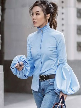 Lantern Sleeve Slim Women Blouse