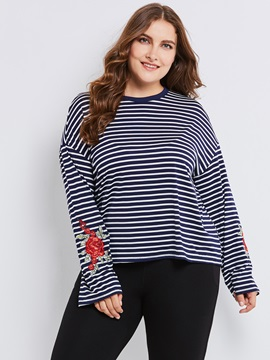 Long Sleeve Slim Color Block Stripe Blouse