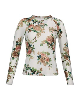 Floral Print Cold Shoulder Women's Blouse