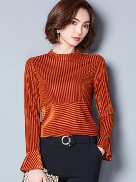 Long Sleeve Slim Women Flare Sleeve Blouse