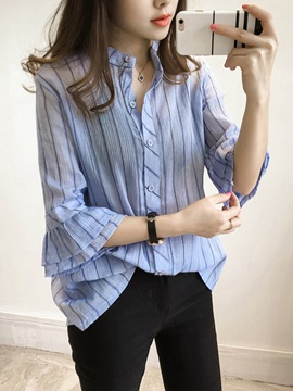Single-Breasted Straight Stripe Women's Blouse