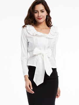 Bow Tie Front Slim Women's Blouse