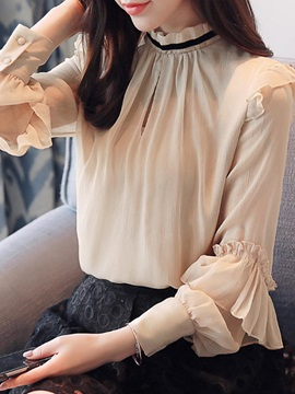 Long Sleeve Loose Stand Collar Women's Blouse
