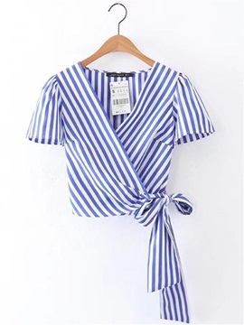 Lace-up Stripe V-Neck Slim Women's Blouse