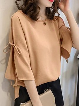 Lace-up Three-Quarter Sleeve Women's Blouse