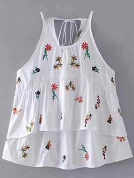 Loose Sleeveless Embroidery Floral Women's Blouse