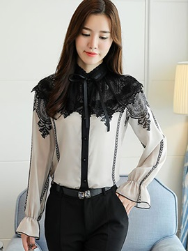 Flare Sleeve Lace Women's Blouse