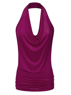 Plain Sleeveless Backless Women's Halter Top