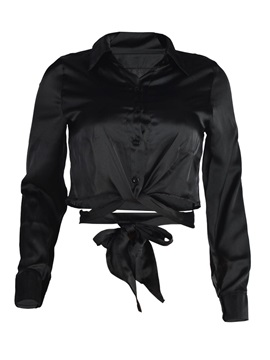 Single-Breasted Lapel Lace-up Women's Blouse