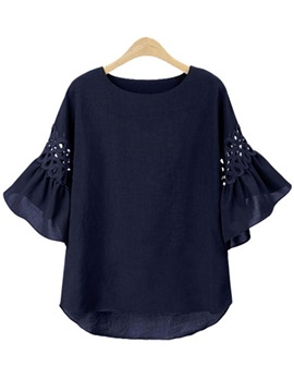 Round Neck Flare Sleeve Hollow Women's Blouse