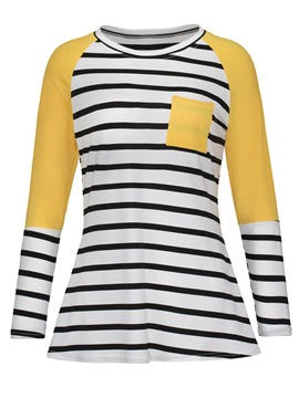 Mid-Length Stripe Color Block Women's T-shirt