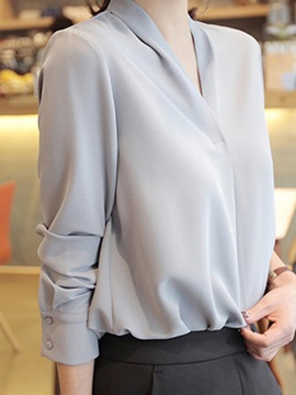 V-Neck Pullover Long Sleeve Plain Women's Blouse