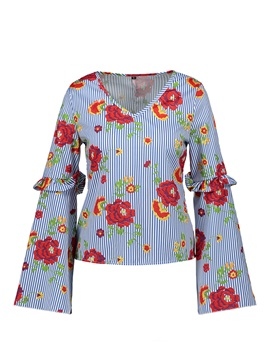 Floral Flare Sleeve V-Neck Women's Blouse