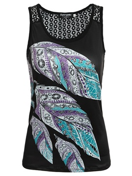 Leaves Printed Slim Women's Tank Top