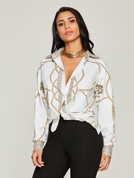 Lapel Floral Single-Breasted Women's Blouse