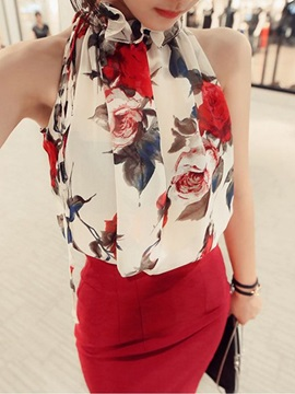 Tidebuy Floral Sleeveless Women's Blouse