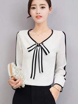 Bow Tie Front Color Block Women's Blouse