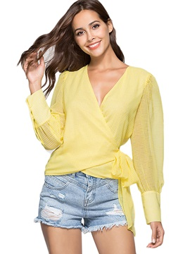 Bow Tie Front V-Neck Loose Women's Blouse