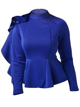 Stand Collar Asymmetric Falbala Women's Blouse