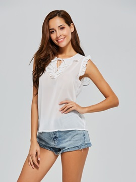 Sleeveless Falbala Plain Women's Blouse
