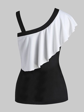 Falbala Color Block One Shoulder Women's Tank Top