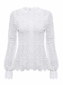 Lace Round Neck See-Through Women's Blouse