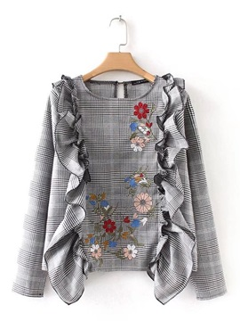 Gingham Embroidery Floral Falbala Women's Blouse