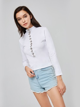 Sexy Crisscross Mock Neck Women's T-Shirt