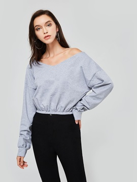Straps Off Shoulder Long Sleeve Women's Cropped T-Shirt