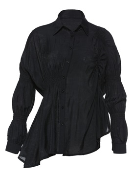 Pleated Single-Breasted Polo Neck Women's Shirt