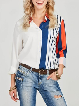 Striped Color Block Lapel Women's Shirt