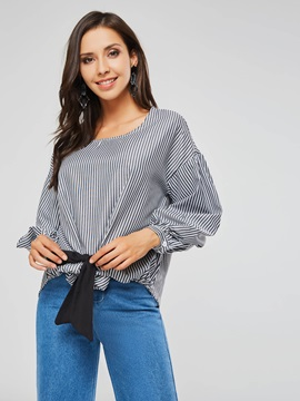 Round Neck Lantern Sleeve Bowknot Women's Blouse