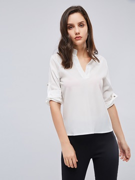 Plain V-Neck Single-Breasted Chiffon Women's Blouse