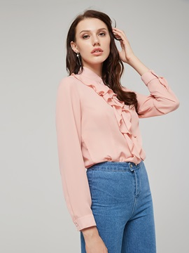 Falbala Single-Breasted Plain Long Sleeve Women's Shirt