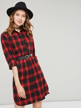 Classic Plaid Mid Length Button Women's Shirt (Without Belt)