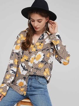 Print Lapel Long Sleeve Women's Blouse