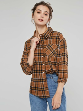 Plaid Lapel Print Long Sleeve Women's Blouse