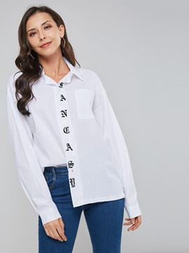 Letter Print Lapel Long Sleeve Button Women's Shirt